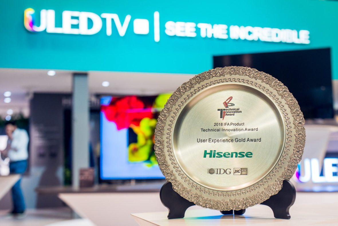 Laser TV da Hisense recebe   Prémio de Melhor Experiência  de Utilizador na IFA 2018 em Berlim