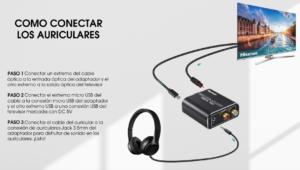 Imagem explicativa para conectar fones de ouvido à TV